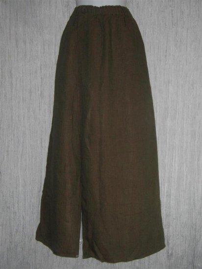 FLAX by Jeanne Engelhart Asymmetrical Brown LINEN Skirt Generous G