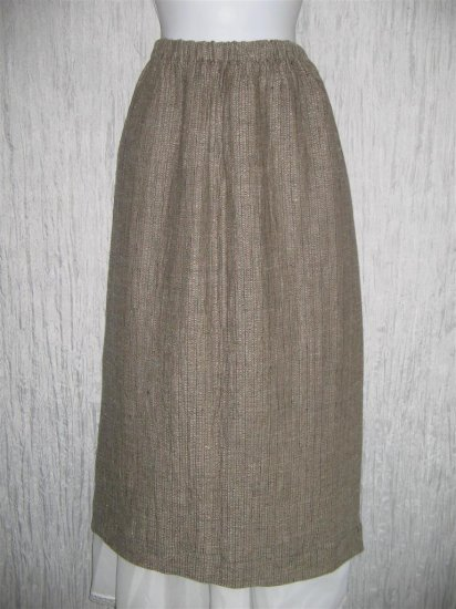 FLAX by Jeanne Engelhart Earthy Brown Thermal LINEN Skirt Large L