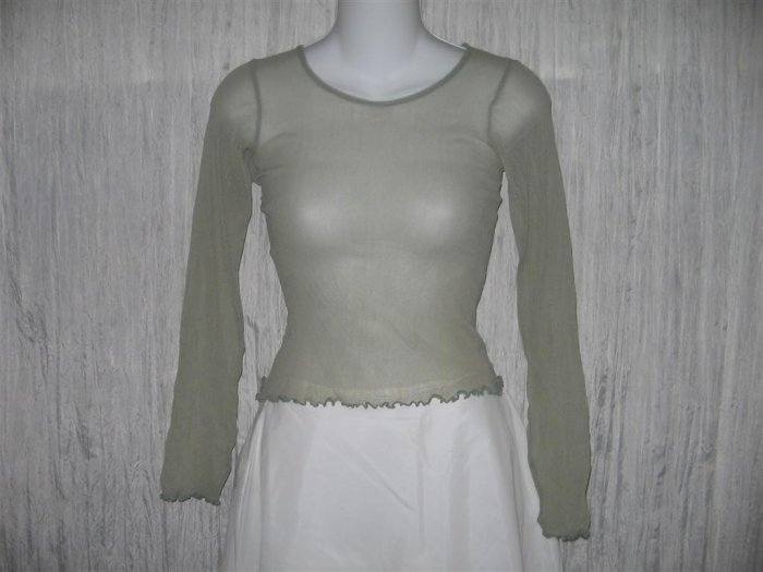 New NEESH by D.A.R. Shear Green Ruffled Layering Shirt Top Small S