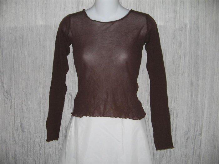New NEESH by D.A.R. Shear Brown Ruffled Layering Shirt Top Large L