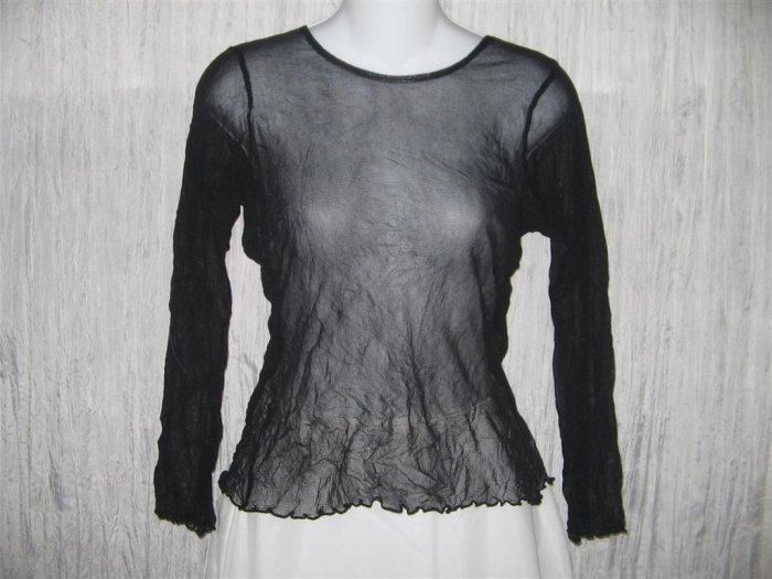 New NEESH by D.A.R. Shear Black Ruffled Layering Shirt Top Large L
