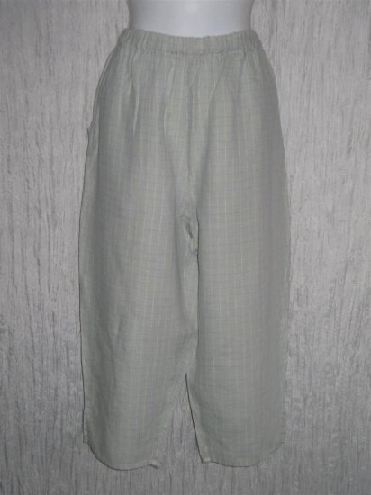FLAX by Jeanne Engelhart Blue Grid LINEN Capri Pants Small