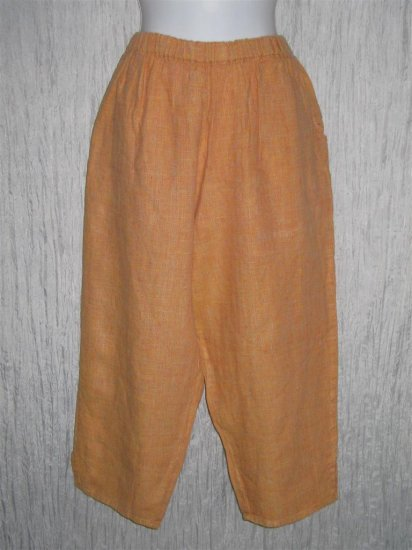 FLAX by Jeanne Engelhart Orange LINEN Capri Pants Medium M