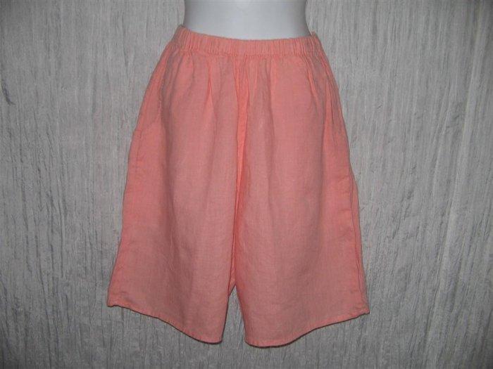 FLAX by Jeanne Engelhart Coral LINEN Shorts Medium M