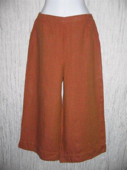 New FLAX Burnt Orange Linen Floods Pants Jeanne Engelhart Small S