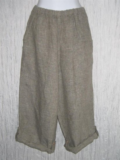 FLAX by Jeanne Engelhart Gray Linen Button Tab Floods Pants Trousers Medium M
