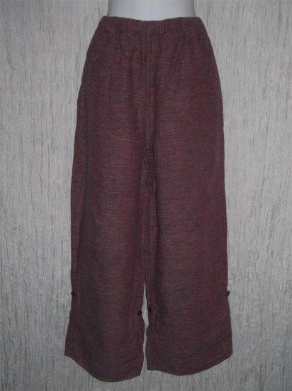 FLAX by Jeanne Engelhart Berry Linen Button Tab Floods Pants Trousers Medium M
