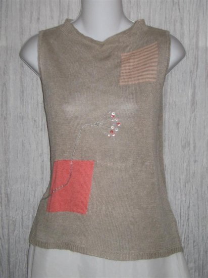 wildroot Delicate Floral Linen Ramie Knit Pullover Tank Top Large L