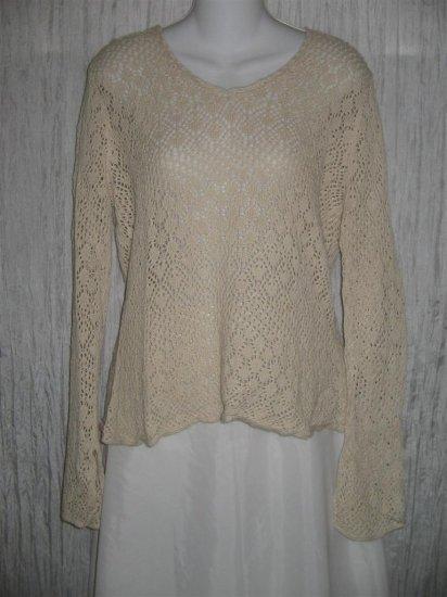 Apostrophe Ecru Ramie Cotton Lace Knit Tunic Top Sweater Large L