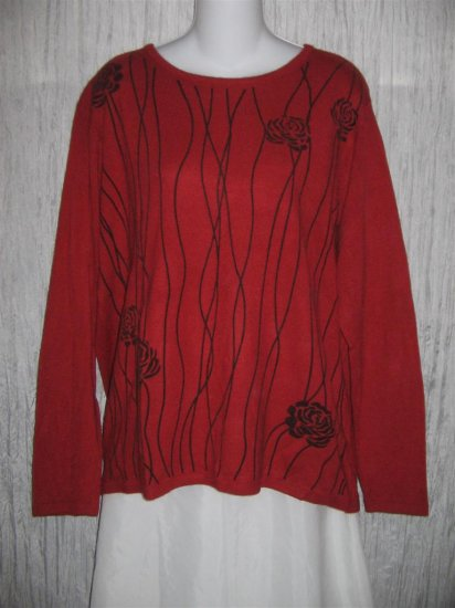 Cathy Daniels Red Orange Flocked Floral Tunic Top Sweater XL