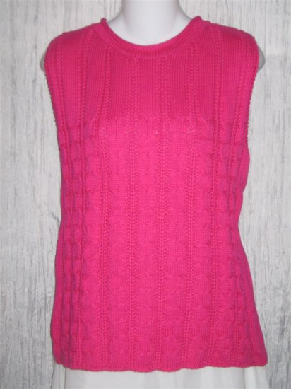 New Susan Bristol Hot Pink Knit Pullover Sweater Top Large L