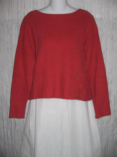 J. Jill Berry Red Cotton Knit Pullover Sweater Top X-Small XS