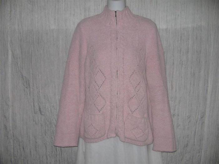 SIGRID OLSEN Soft Pink Zip Cardigan Sweater Large L