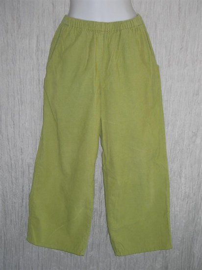 FLAX Green Cotton Corduroy Pants Jeanne Engelhart Small S