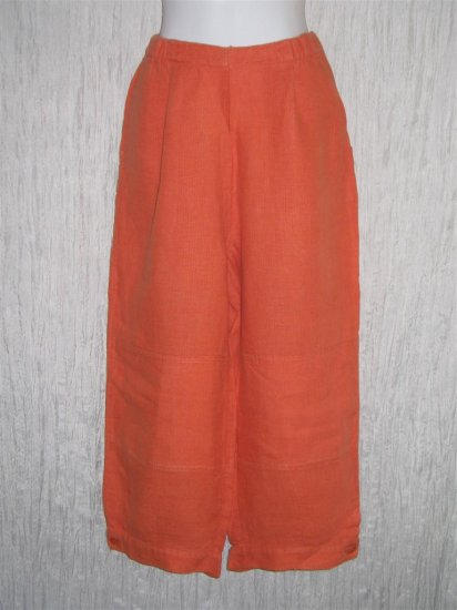 FLAX Orange Linen Floods Pants Jeanne Engelhart Small S