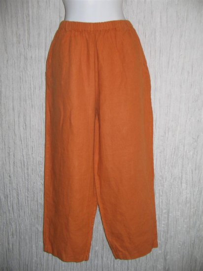 FLAX Long Orange Linen Pants Jeanne Engelhart Medium M