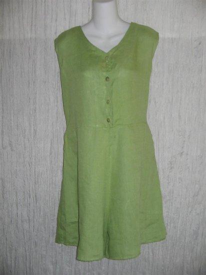 Jeanne Engelhart FLAX Green Linen Shorts Shirt Romper Outfit Medium M