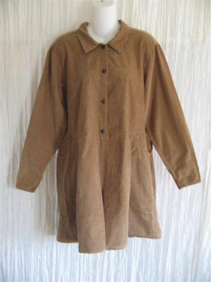 Jeanne Engelhart FLAX Brown Corduroy Shorts Shirt Romper Outfit Medium M