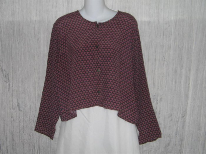 R-Clan FLAX by Jeanne Engelhart Cropped Hearts Top Shirt Medium M