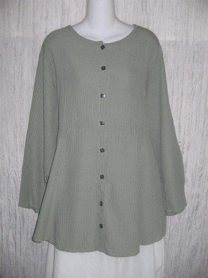 Jeanne Engelheart FLAX Skirted Button Shirt Tunic Top Medium M