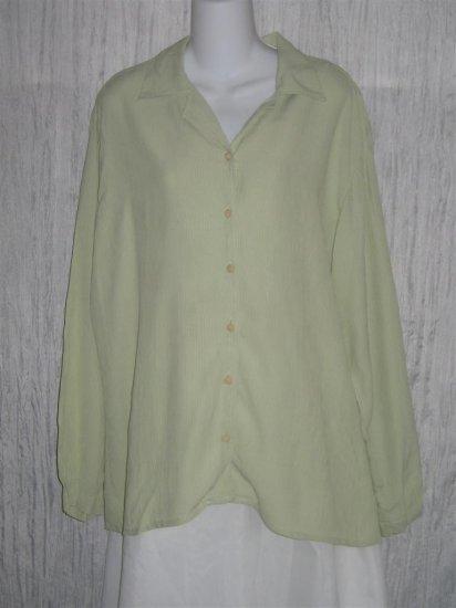 Jeanne Engelhart FLAX Lemon Lime Gingham Button Shirt Top Medium M