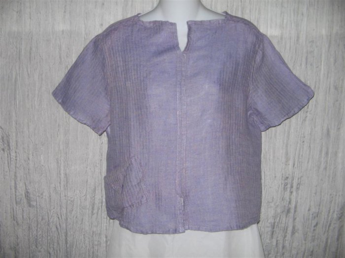 Jeanne Engelhart FLAX Purple Cropped Linen Shirt Top Small S