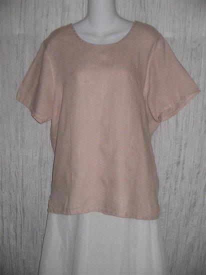 Jeanne Engelhart FLAX Pink Linen Pullover Shirt Tunic Top Medium M