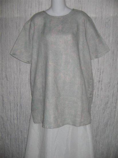 Jeanne Engelhart FLAX Blue Linen Pullover Shirt Tunic Top Medium M