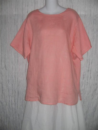 Jeanne Engelhart FLAX Coral Linen Pullover Shirt Tunic Top Large L