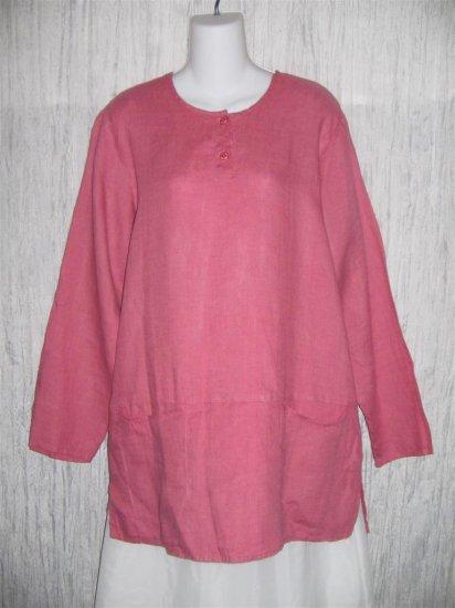 Jeanne Engelhart FLAX Pink Skirted Linen Pullover Shirt Tunic Top Medium M