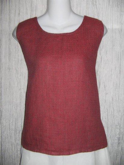 Jeanne Engelhart FLAX Berry Linen Tank Top Shirt Medium M