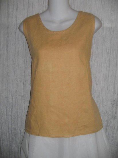 FLAX by Angelheart Peach Linen Tank Top Shirt Medium M
