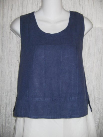 Jeanne Engelhart FLAX Blue Linen Tank Top Shirt Small S