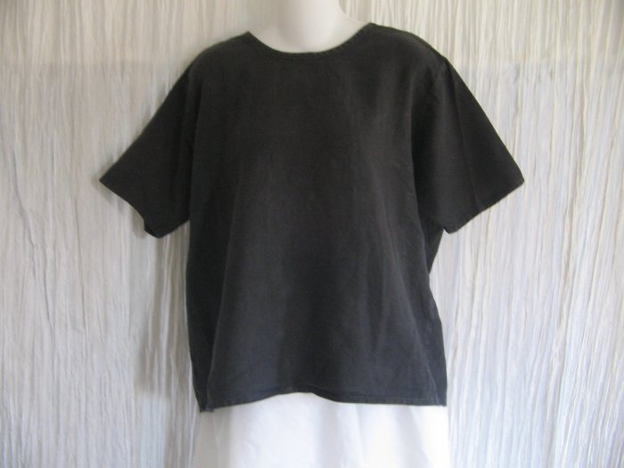 FLAX by Angelheart Black Linen Pullover Shirt Tunic Top Medium M