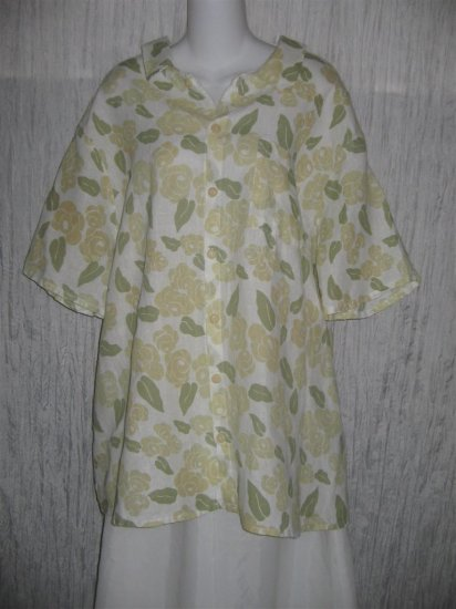 FLAX Floral Linen Button Shirt Tunic Top Engelhart 1G