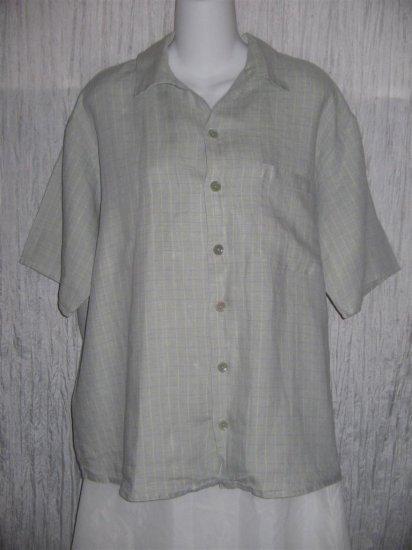Jeanne Engelhart FLAX Blue Grid Linen Button Shirt Tunic Top Medium M