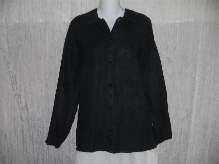Jeanne Engelhart FLAX Black Linen Button Shirt Tunic Top Medium M