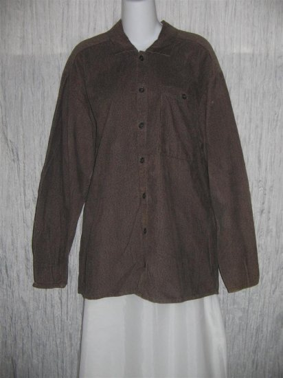 Jeanne Engelhart FLAX Brown Corduroy Button Shirt Tunic Top Small S