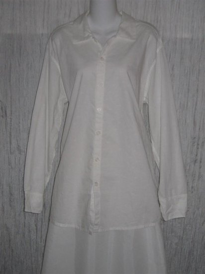 Jeanne Engelhart FLAX Long White Tunic Top Shirt Small S