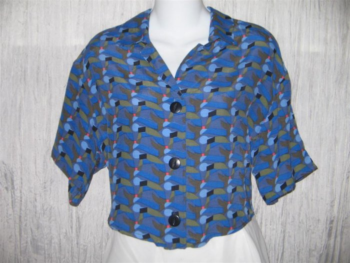 Jeanne Engelhart FLAX Cropped Shapely Blue Rayon Shirt Top Small S