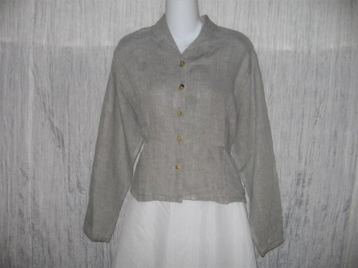 Jeanne Engelhart FLAX Shapely Linen Button Shirt Tunic Top Medium M