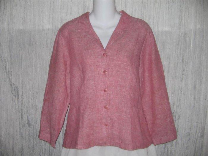 FLAX Shapely Pink Linen Button Shirt Tunic Top Engelhart Small S