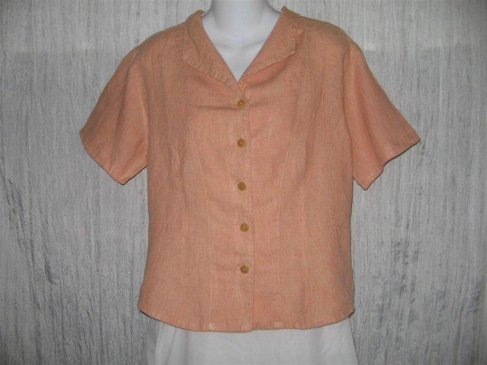 FLAX Shapely Orange Linen Button Shirt Tunic Top Engelhart Small S