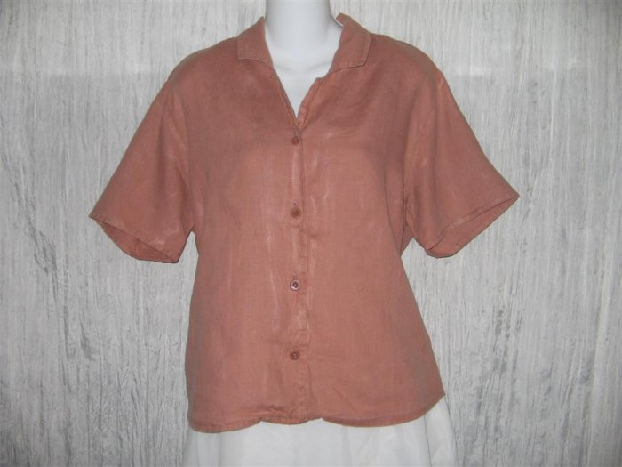 FLAX Pink Linen Button Shirt Tunic Top Engelhart Large L