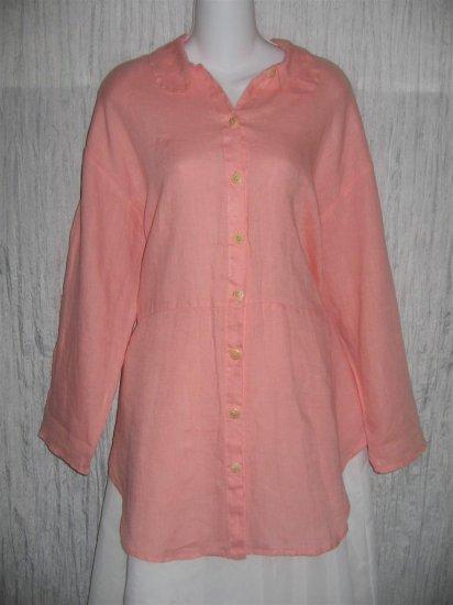 Jeanne Engelhart FLAX Pink Linen Skirted Button Tunic Top Shirt Small S