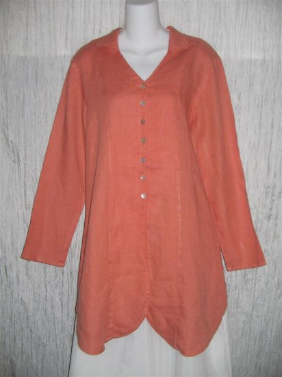 Jeanne Engelhart FLAX Pink Linen Skirted Button Tunic Top Shirt Small S