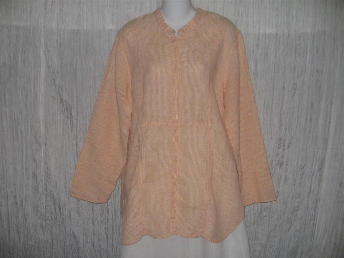 Jeanne Engelhart FLAX Orange Grid Linen Button Tunic Top Shirt Small S