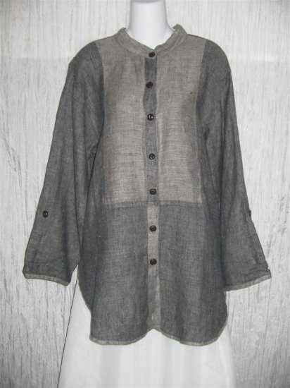 Jeanne Engelhart FLAX Gray Linen Button Tunic Top Shirt Small S