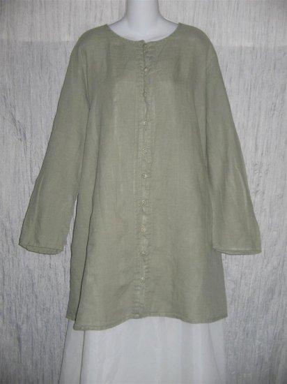 Jeanne Engelhart FLAX Soft Green Linen Button Tunic Top Shirt 2G