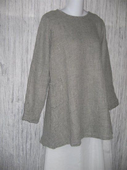 FLAX by Jeanne Engelhart Long Shapely Thermal Linen Pocket Tunic Top Shirt Small S